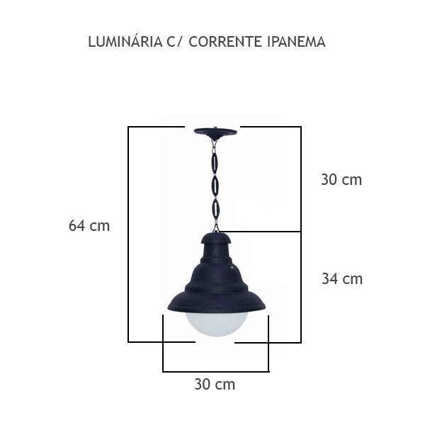 Luminária Com Corrente Ipanema - FUNDIÇÃO VESUVIO