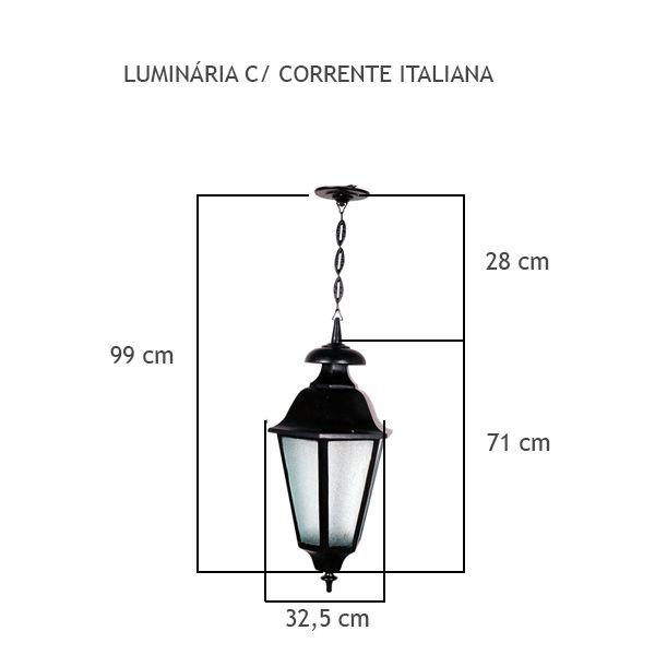 Luminária Com Corrente Italiana - FUNDIÇÃO VESUVIO