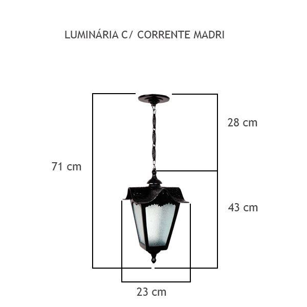 Luminária Com Corrente Madri - FUNDIÇÃO VESUVIO