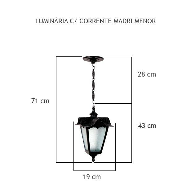 Luminária Com Corrente Madri Menor - FUNDIÇÃO VESUVIO