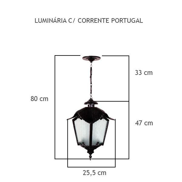 Luminária Com Corrente Portugal - FUNDIÇÃO VESUVIO