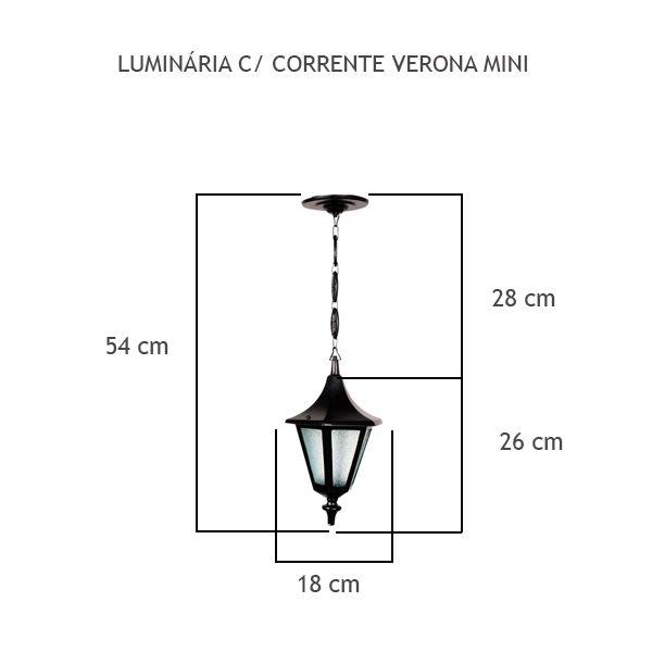 Luminária Com Corrente Verona Mini - FUNDIÇÃO VESUVIO