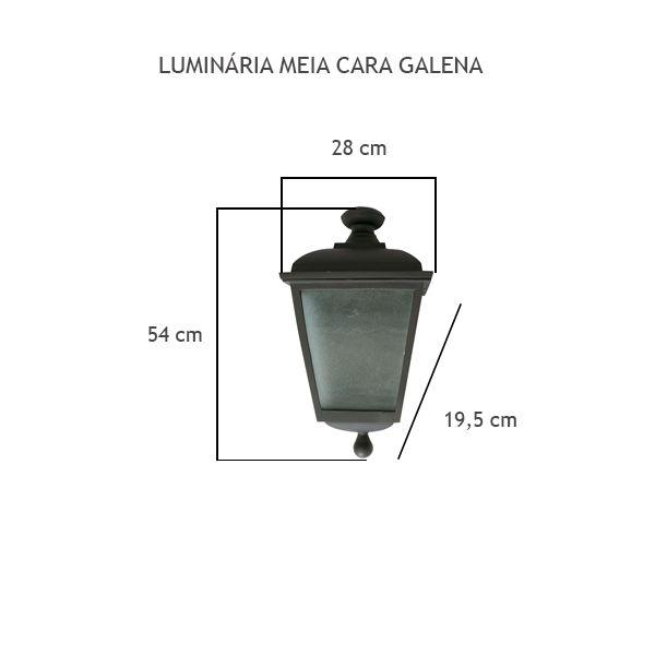 Luminária Meia Cara Galena - FUNDIÇÃO VESUVIO
