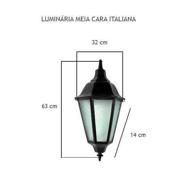 Luminária Meia Cara Italiana - FUNDIÇÃO VESUVIO