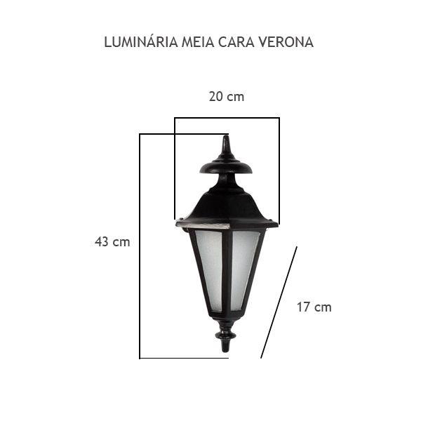 Luminária Meia Cara Verona - FUNDIÇÃO VESUVIO