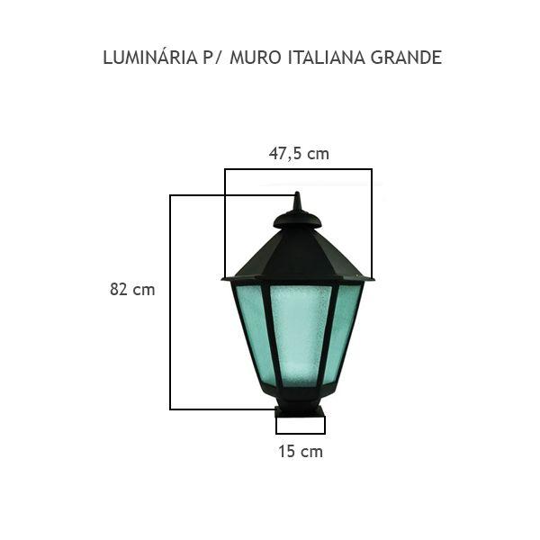 Luminária Para Muro Italiana Grande - FUNDIÇÃO VESUVIO