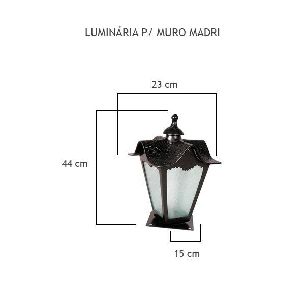 Luminária Para Muro Madri - FUNDIÇÃO VESUVIO