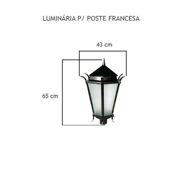 Luminária Para Poste Francesa - FUNDIÇÃO VESUVIO