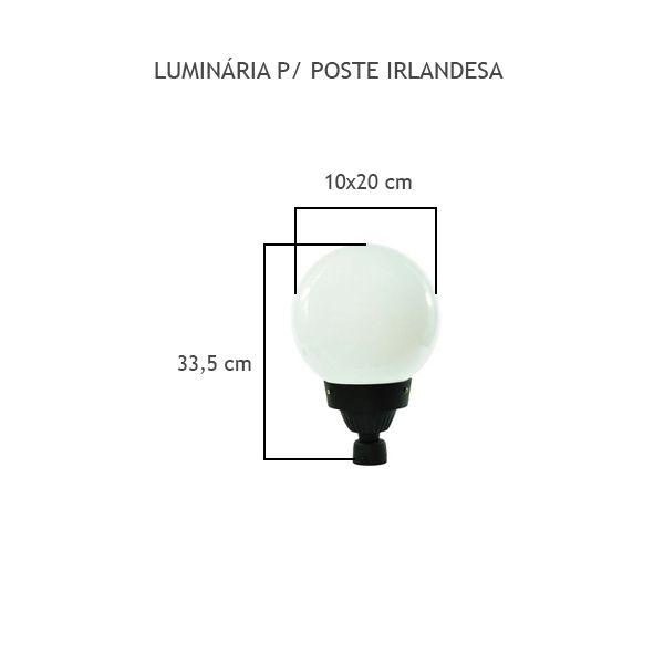 Luminária Para Poste Irlandesa - FUNDIÇÃO VESUVIO