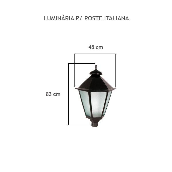 Luminária Para Poste Italiana - FUNDIÇÃO VESUVIO