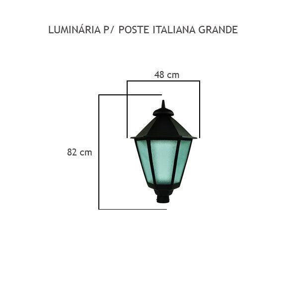 Luminária Para Poste Italiana Grande - FUNDIÇÃO VESUVIO