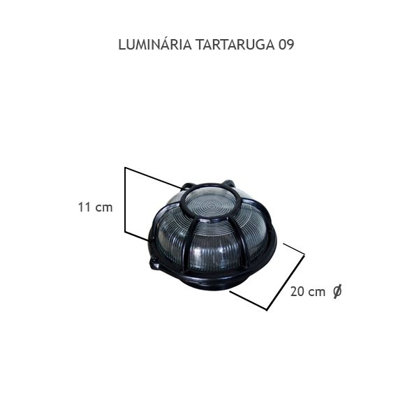 Luminária Tartaruga Redonda - FUNDIÇÃO VESUVIO