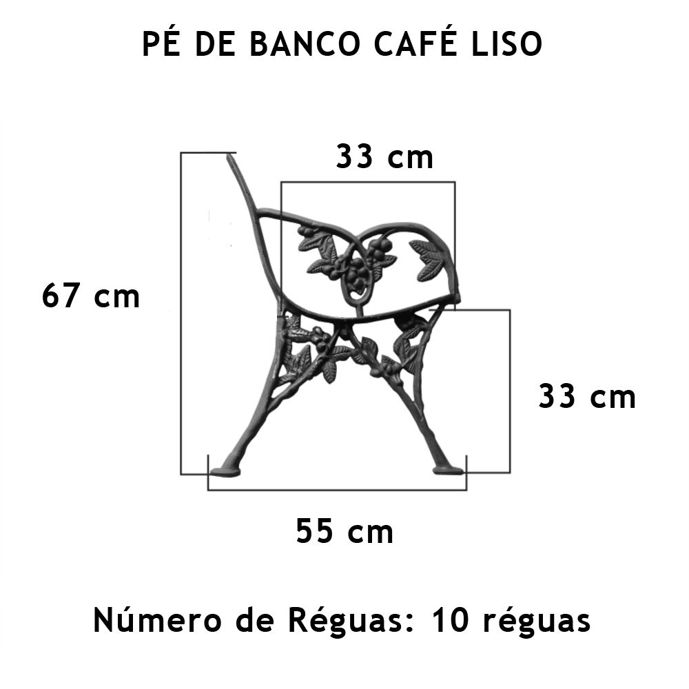 Par Pé De Banco Café Liso 10 Réguas - FUNDIÇÃO VESUVIO