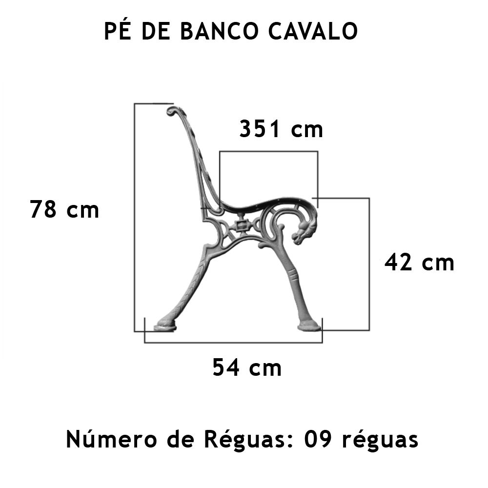 Par Pé De Banco Cavalo 9 Réguas - FUNDIÇÃO VESUVIO