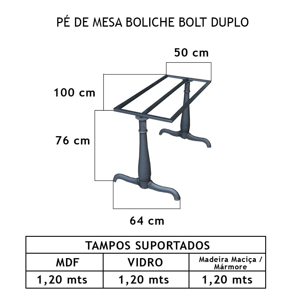 Pé de Mesa Boliche Bolt Duplo - FUNDIÇÃO VESUVIO