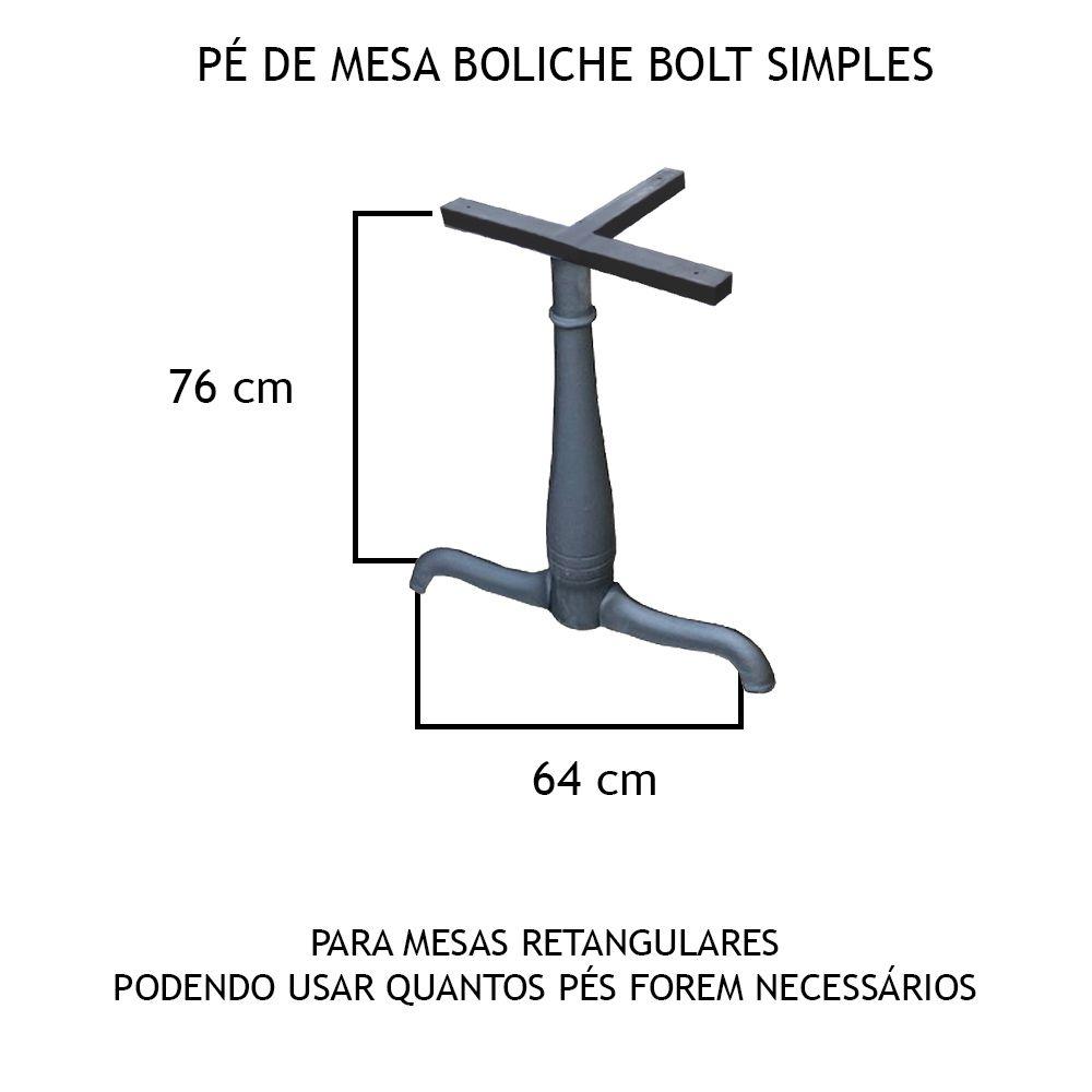 Pé De Mesa Boliche Bolt Simples - FUNDIÇÃO VESUVIO