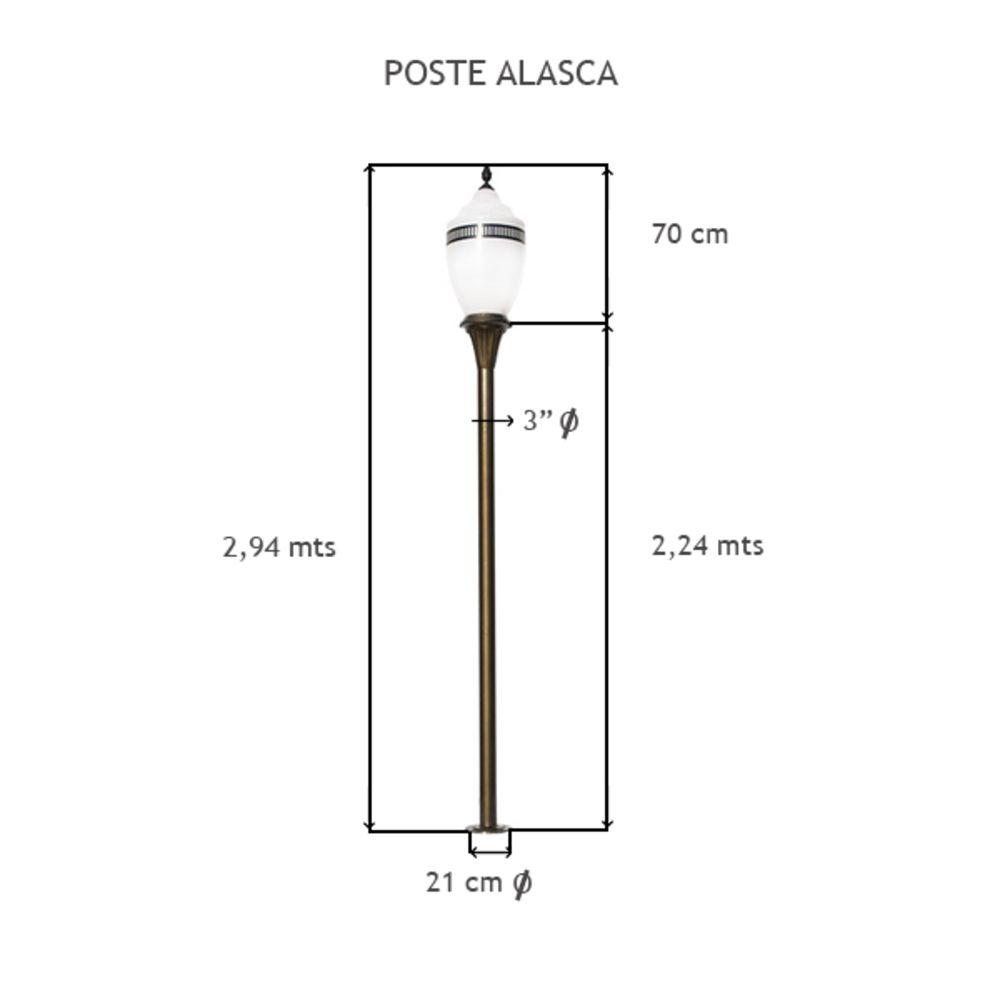 Poste Alasca C/ 1 Globo C/ 2,94 Mts De Altura - FUNDIÇÃO VESUVIO