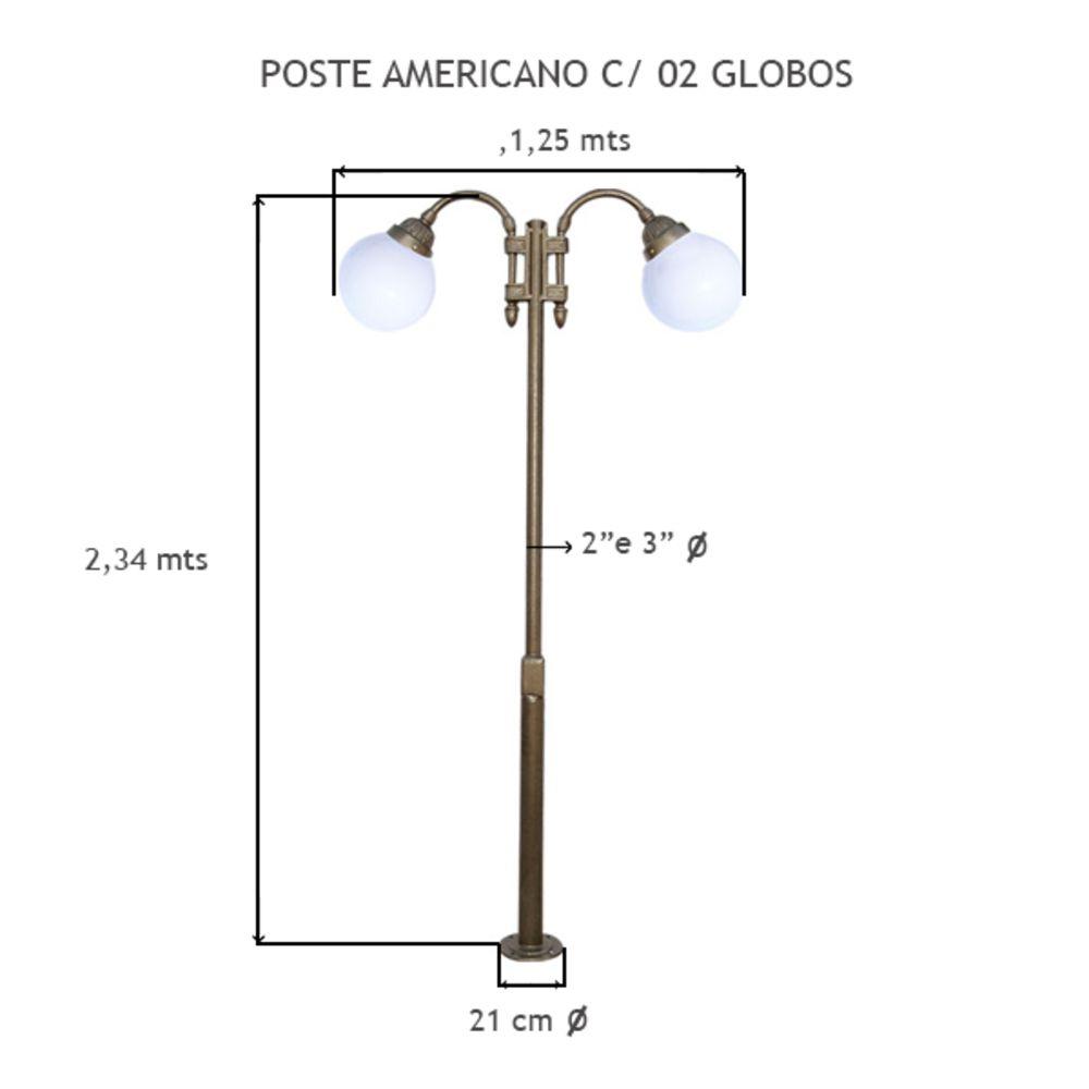 Poste Americano C/ 02 Globos C/ 2,34 Mts De Altura - FUNDIÇÃO VESUVIO