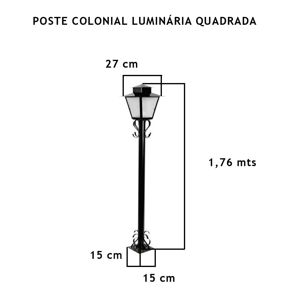 Poste Colonial Com Luminária Quadrada Com 1,76Mt De Altura - FUNDIÇÃO VESUVIO