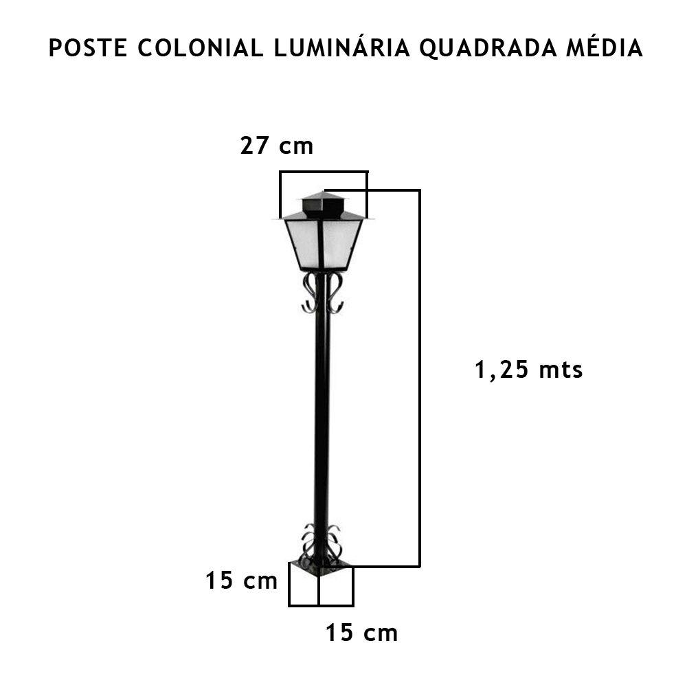 Poste Colonial Com Luminária Quadrada Média Com 1,25Mt De Altura - FUNDIÇÃO VESUVIO