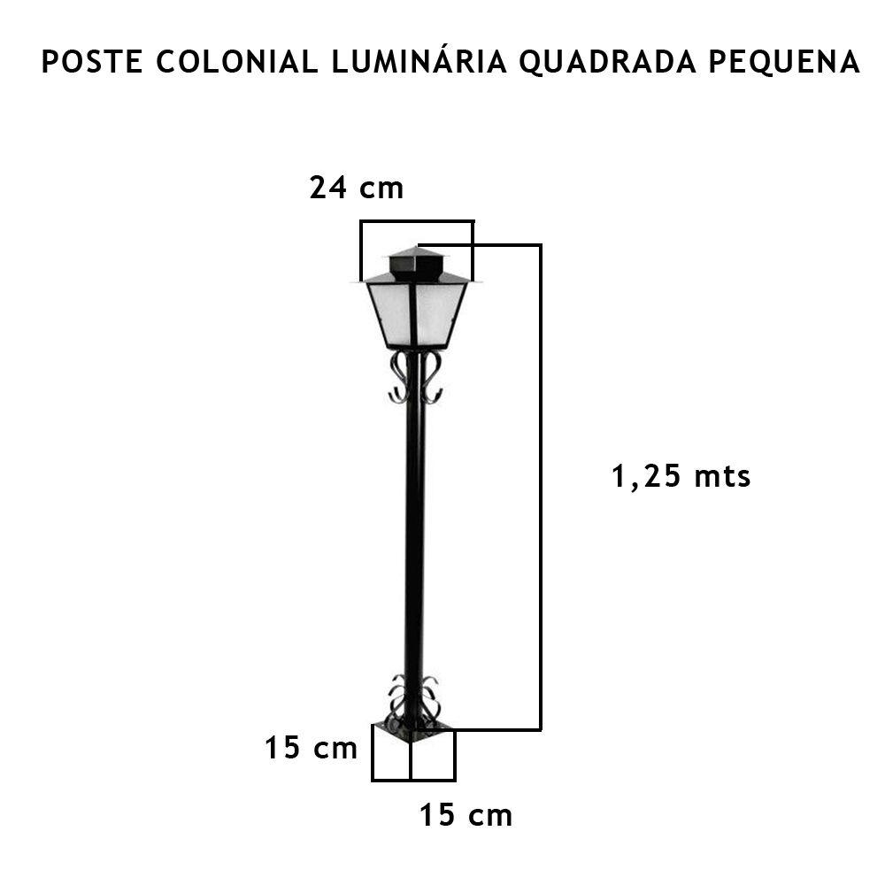 Poste Colonial  Com Luminária Quadrada Pequena Com 1,25Mt De Altura - FUNDIÇÃO VESUVIO
