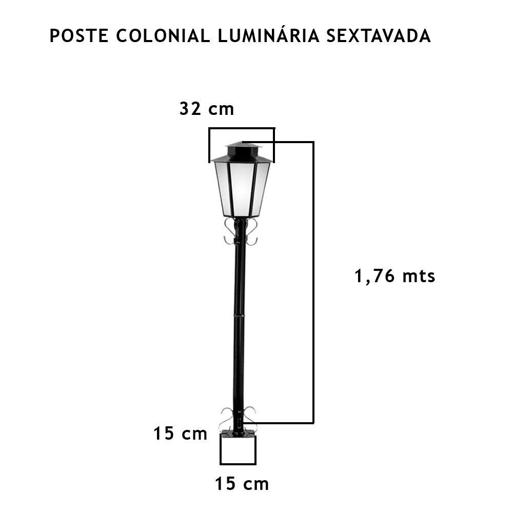 Poste Colonial Com Luminária Sextavada 1,76Mt De Altura - FUNDIÇÃO VESUVIO
