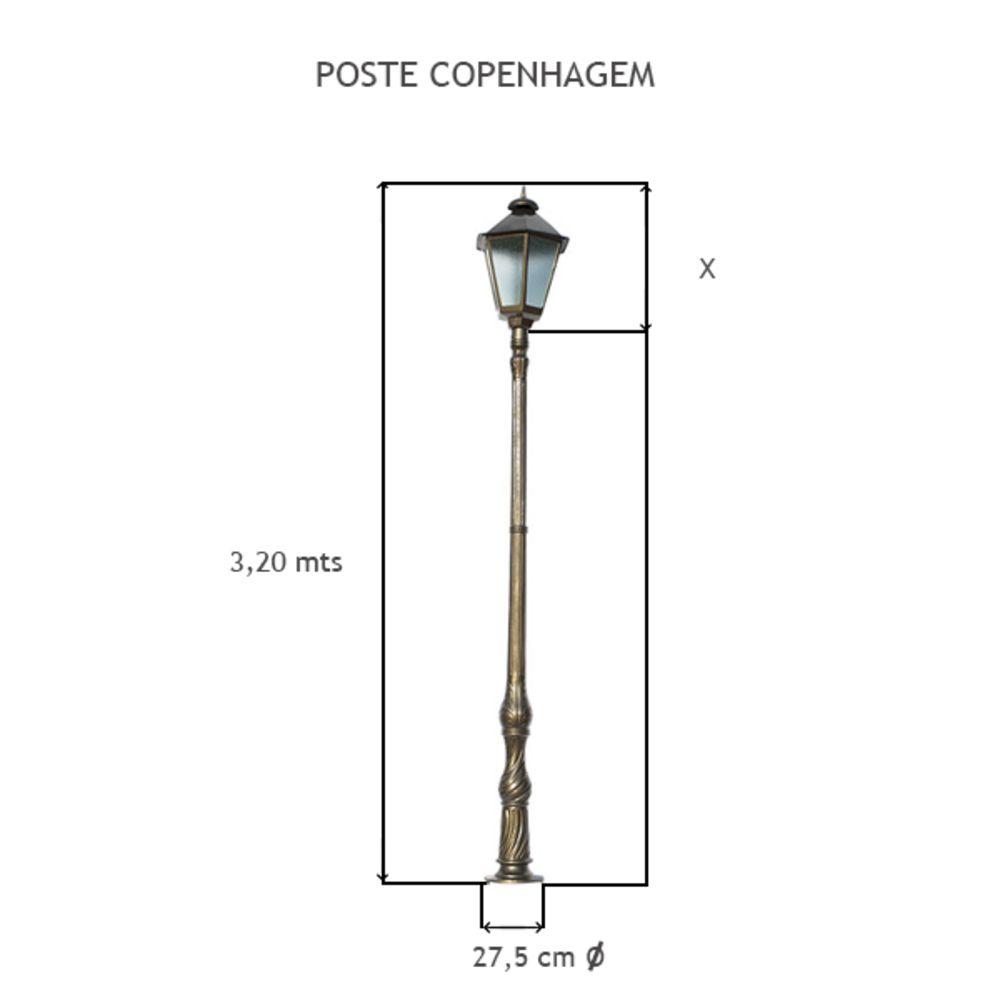 Poste Copenhague C/ 1 Luminária C/ 3,20Mts De Altura - FUNDIÇÃO VESUVIO