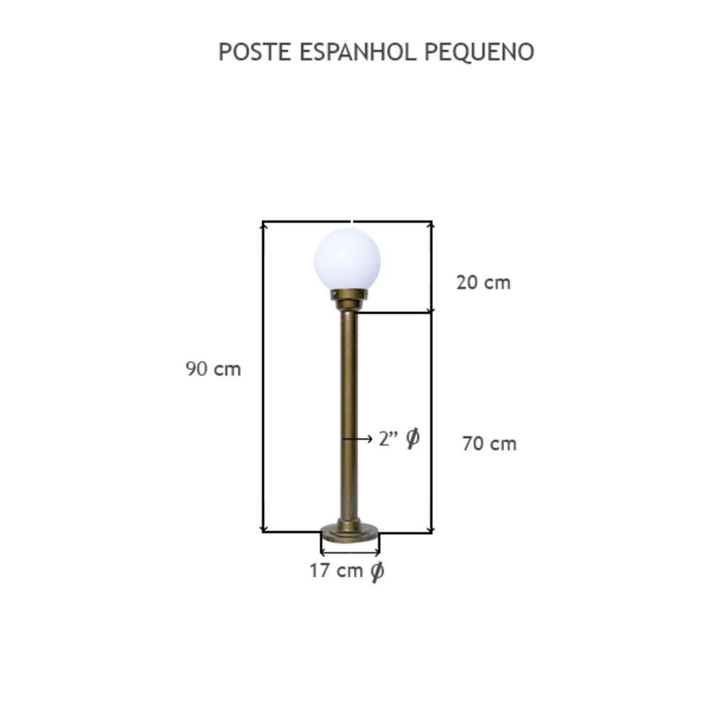 Poste Espanhol Pequeno C/ 1 Globo C/ 90 Cm De Altura - FUNDIÇÃO VESUVIO