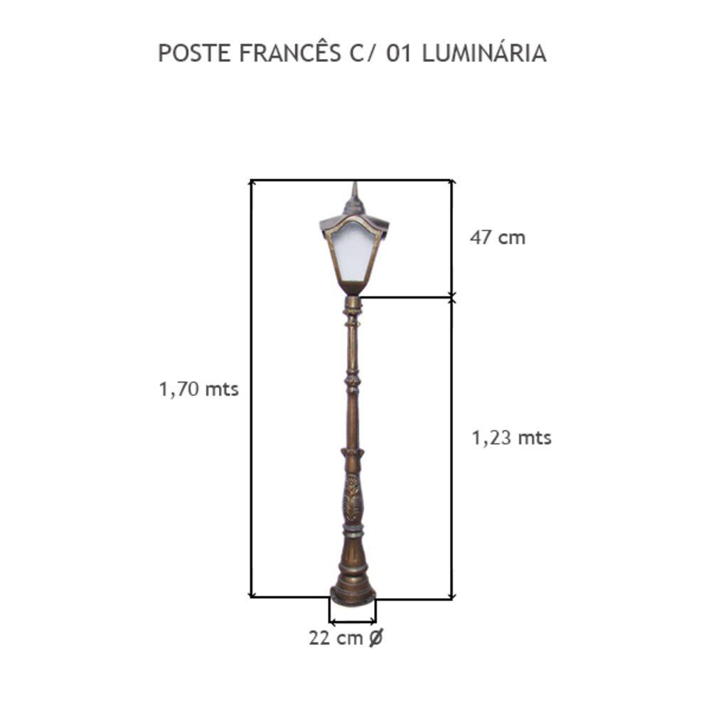 Poste Francês C/ 01 Luminária C/ 1,70 Mts De Altura - FUNDIÇÃO VESUVIO