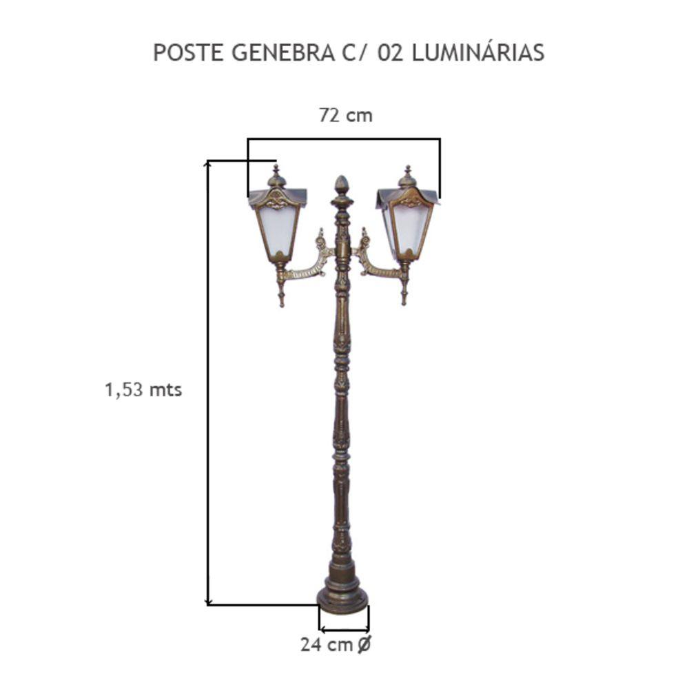 Poste Genebra C/ 02 Luminárias C/ 1,93Mts De Altura - FUNDIÇÃO VESUVIO