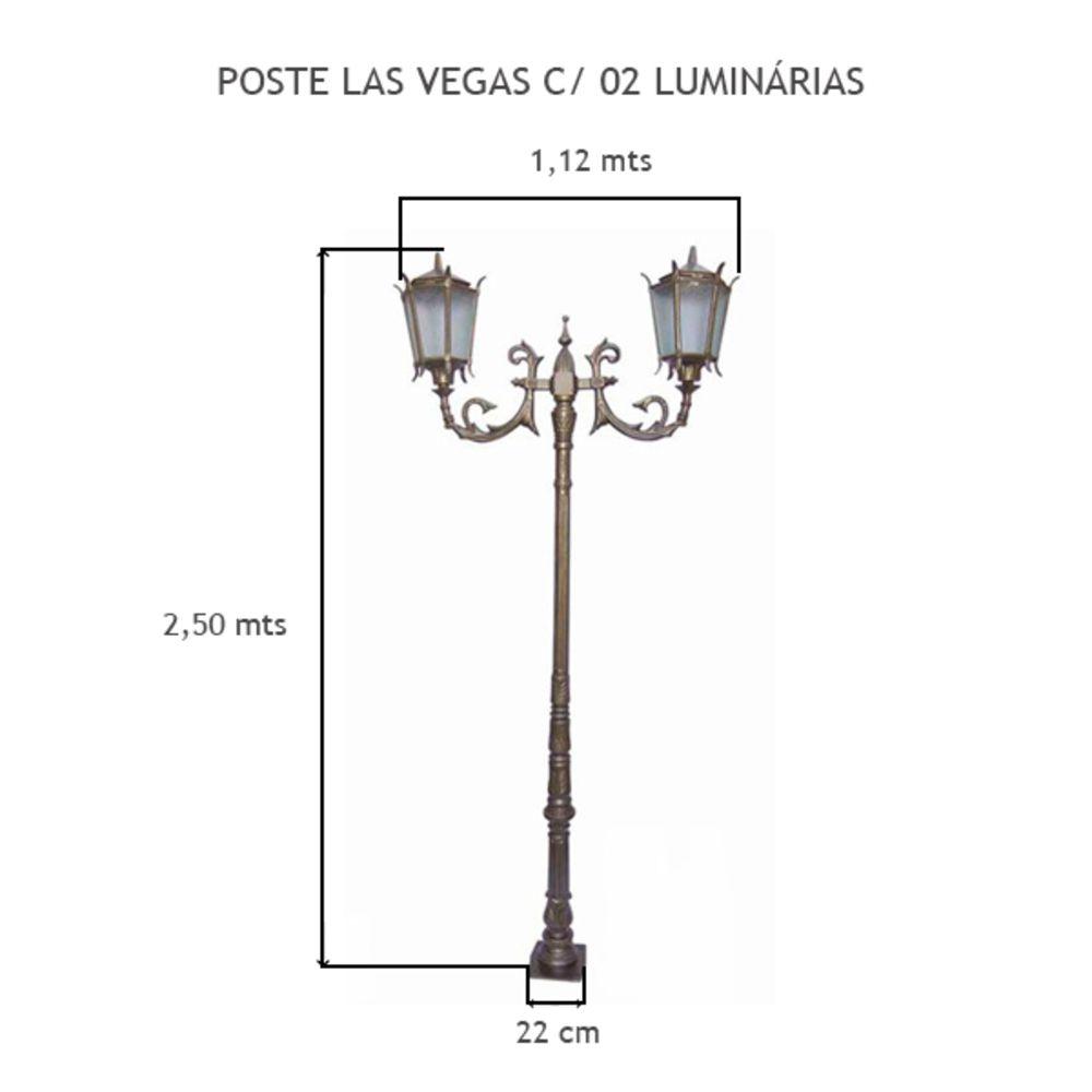 Poste Las Vegas C/ 2 Luminárias C/ 2,50 Mts De Altura - FUNDIÇÃO VESUVIO