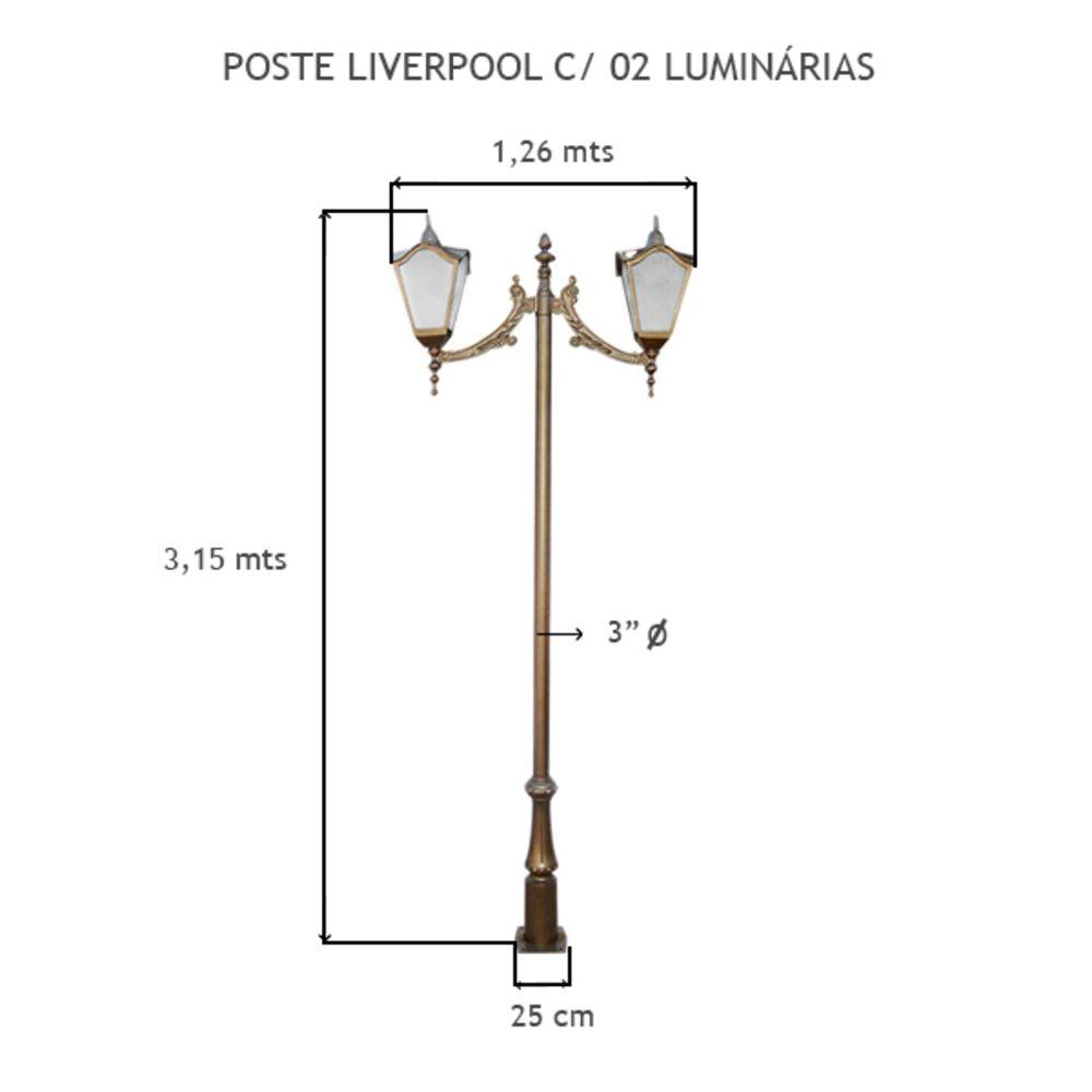 Poste Liverpool C/ 02 Luminárias C/ 3,15 Mts De Altura - FUNDIÇÃO VESUVIO