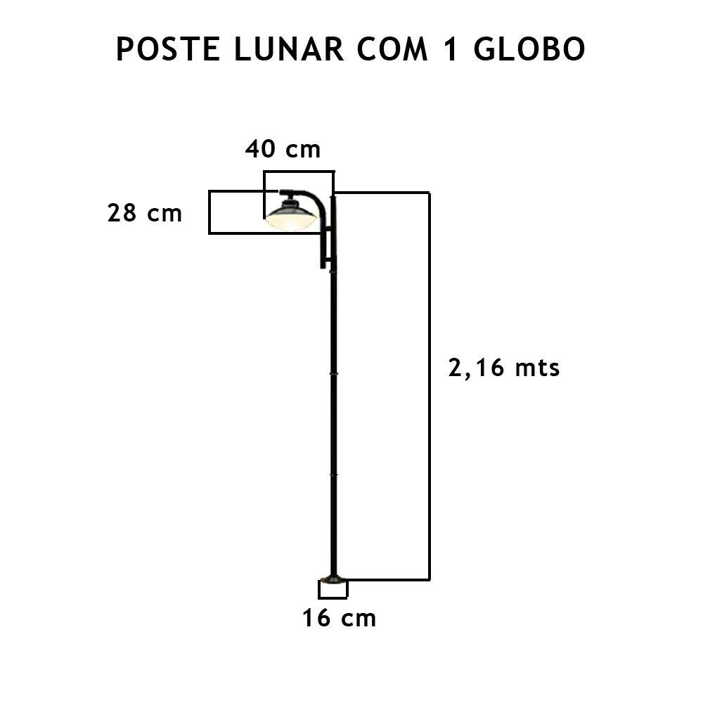 Poste Lunar Com 1 Globo Com 2,16Mt De Altura - FUNDIÇÃO VESUVIO