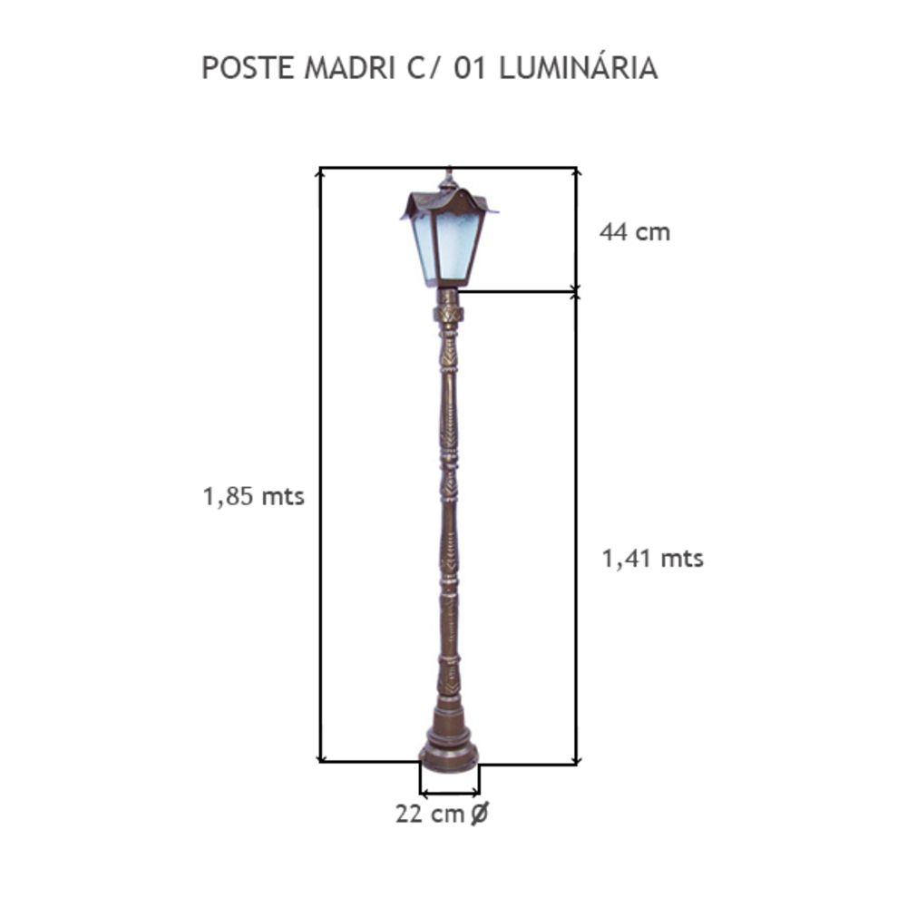 Poste Madri C/  01 Luminária C/ 1,85 Mts De Altura - FUNDIÇÃO VESUVIO