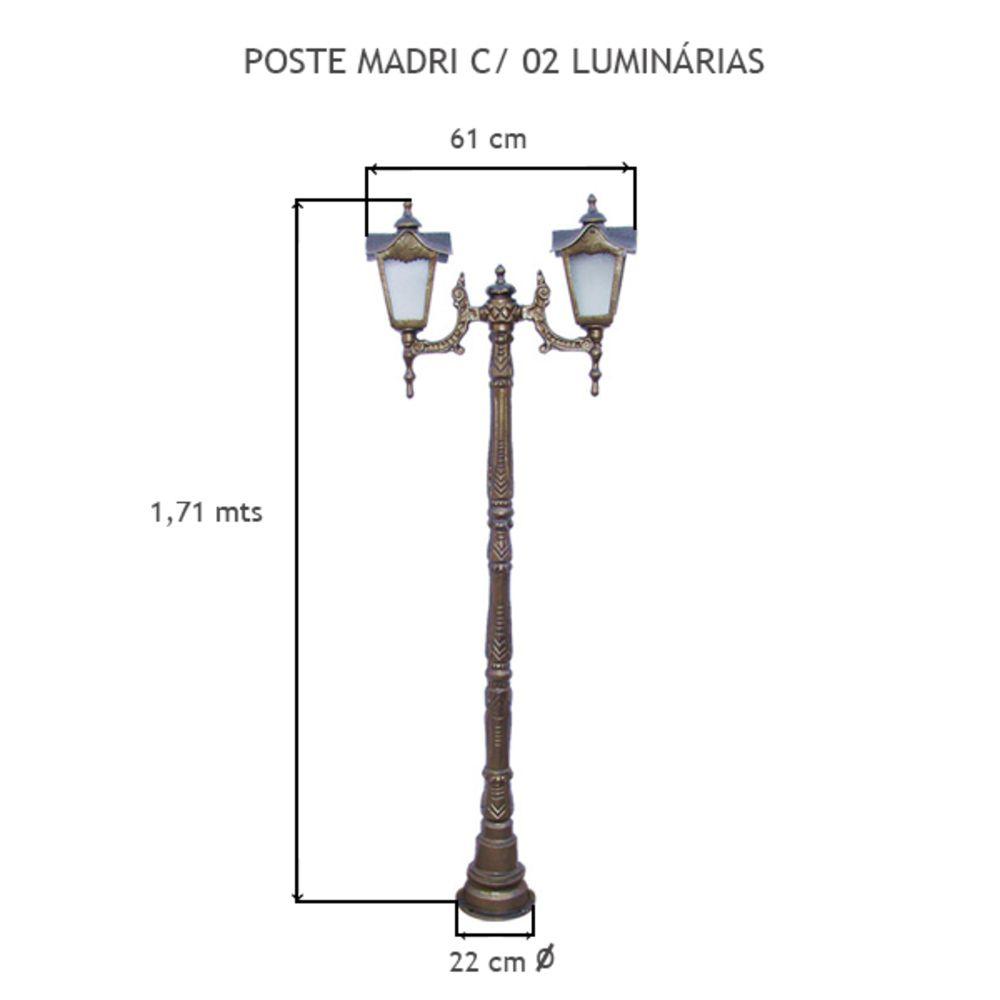 Poste Madri C/  02 Luminárias C/ 1,71 Mts De Altura - FUNDIÇÃO VESUVIO
