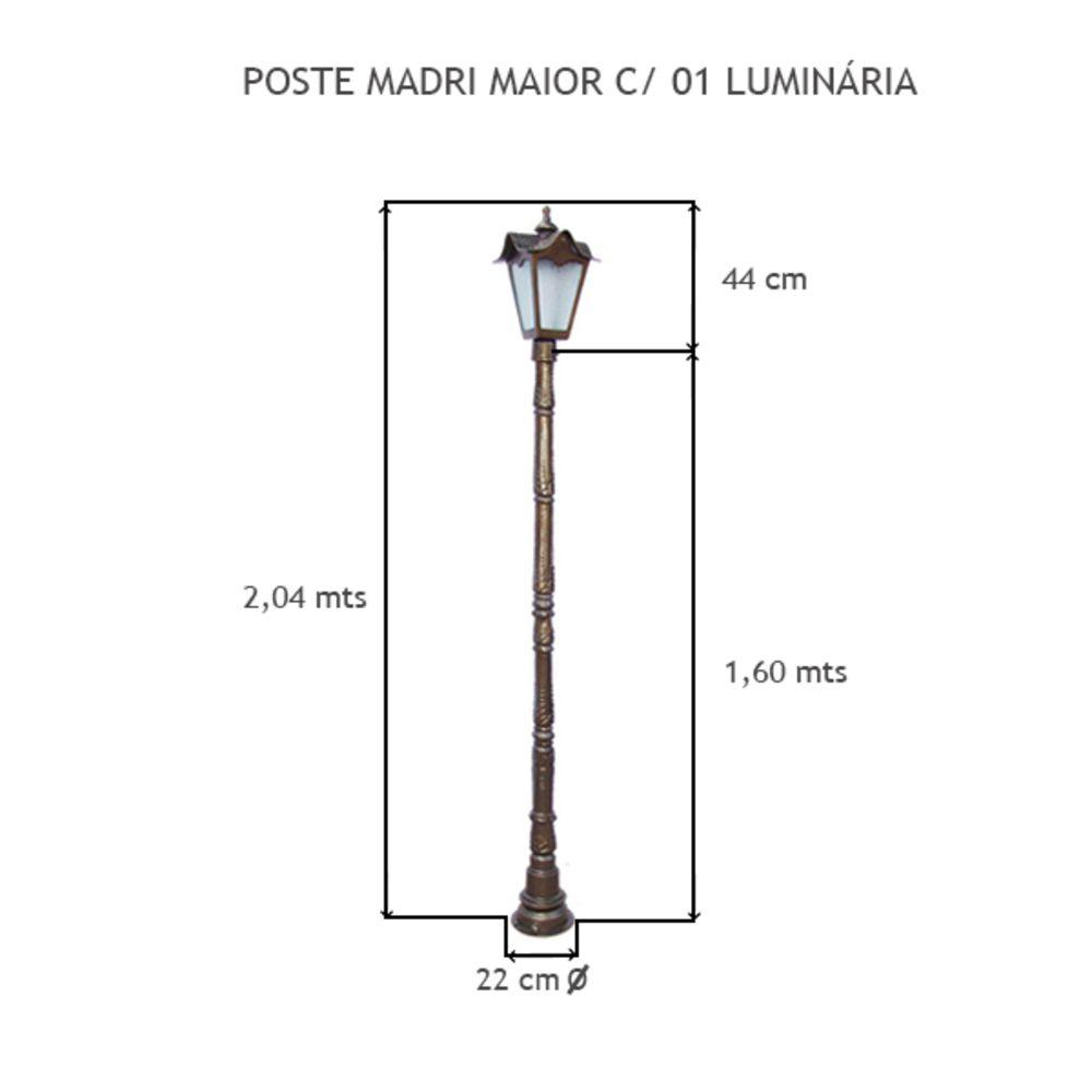 Poste Madri Maior C/ 01 Luminária C/ 2,04 Mts De Altura - FUNDIÇÃO VESUVIO