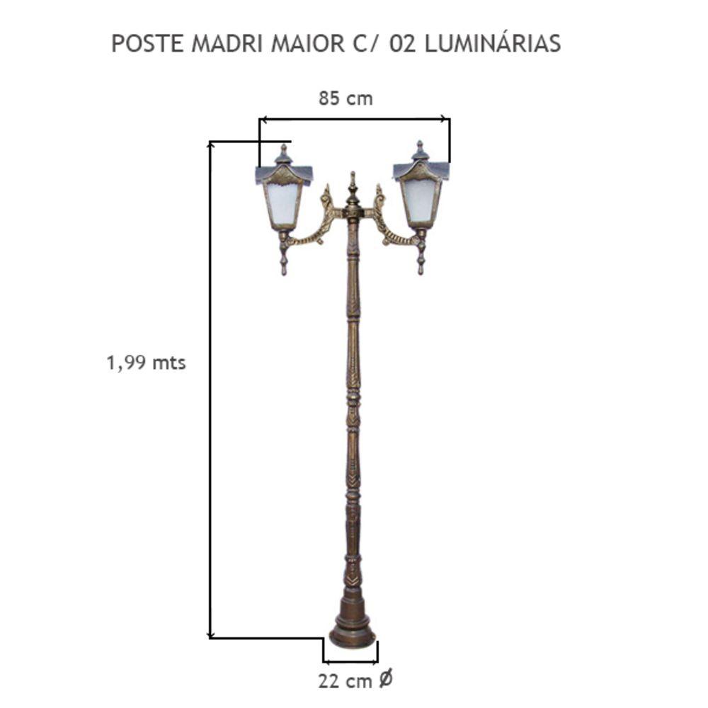 Poste Madri Maior C/ 02 Luminárias C/ 1,99Mts De Altura - FUNDIÇÃO VESUVIO