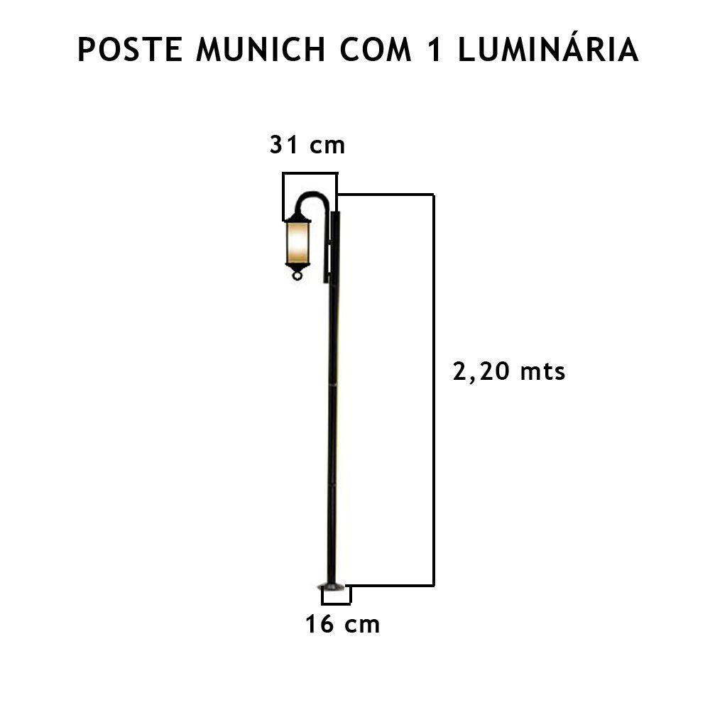 Poste Munich C/ 1 Luminária C/ 2,2Mt De Altura - FUNDIÇÃO VESUVIO