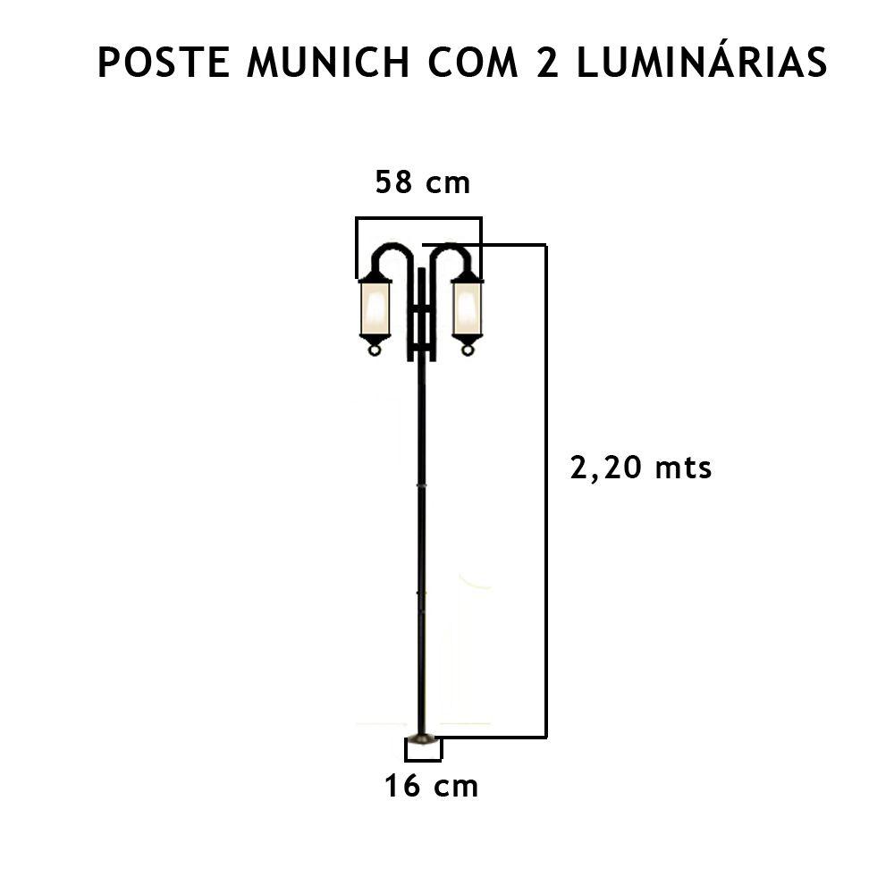 Poste Munich C/ 2 Luminárias C/ 2,2Mt De Altura - FUNDIÇÃO VESUVIO