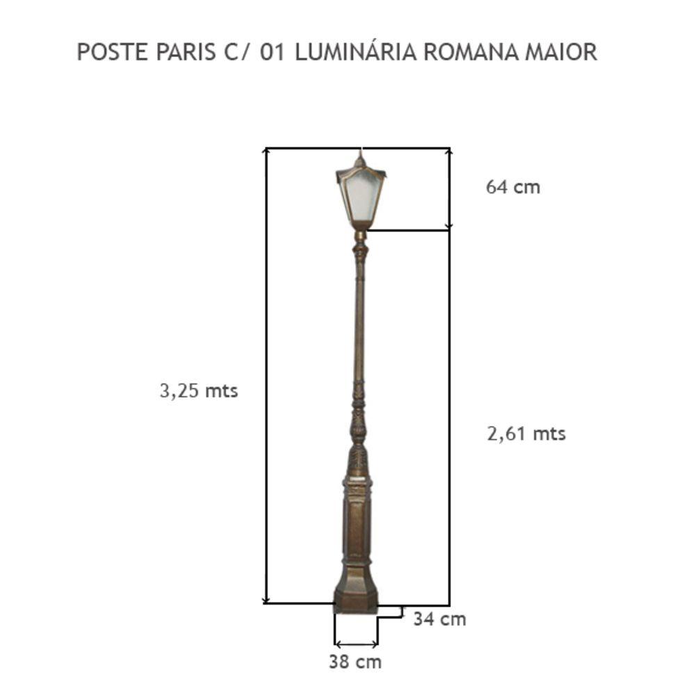Poste Paris C/ 01 Luminária Romana Maior C/ 3,25Mts De Altura - FUNDIÇÃO VESUVIO