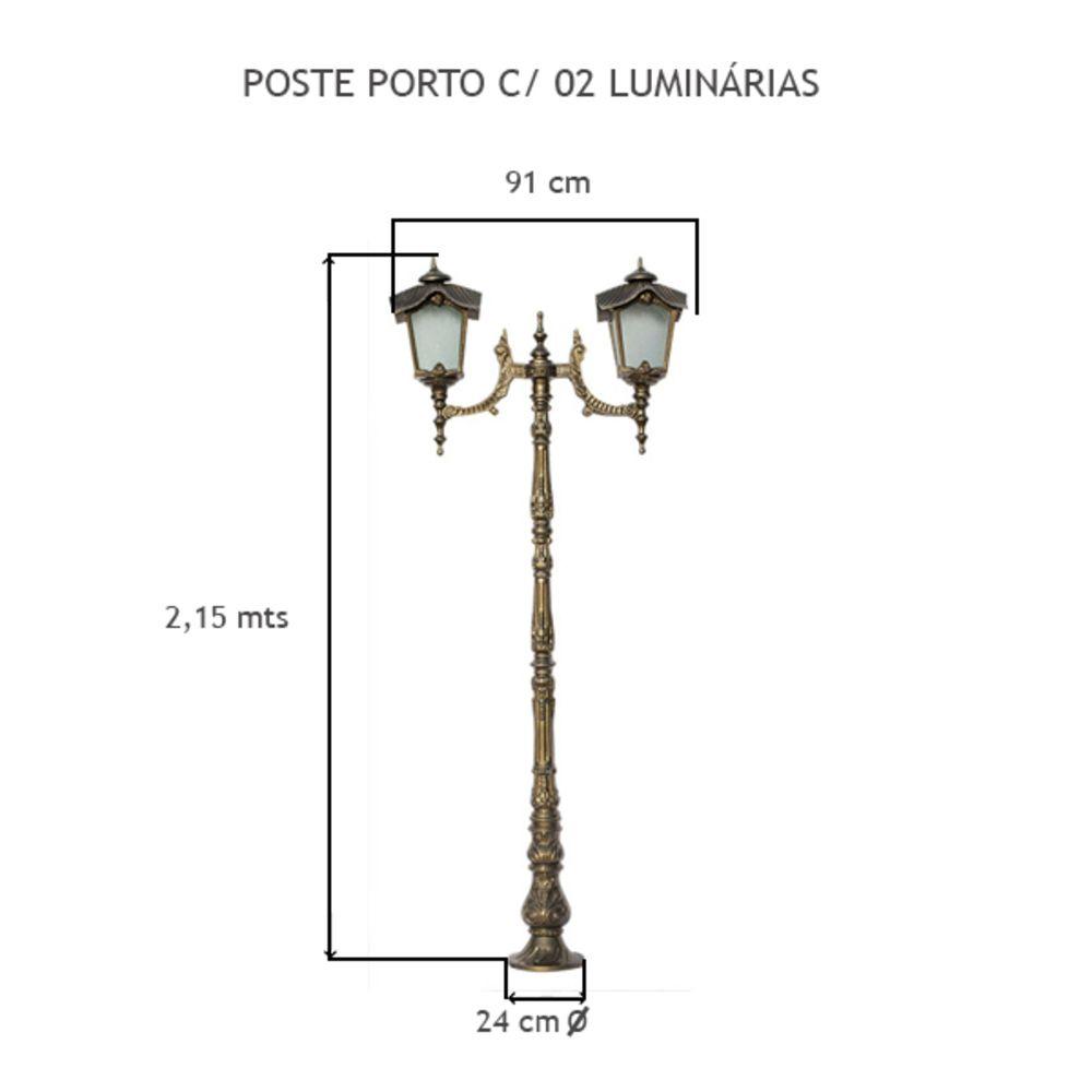 Poste Porto C/ 2 Luminárias C/ 2,15Mts De Altura - FUNDIÇÃO VESUVIO