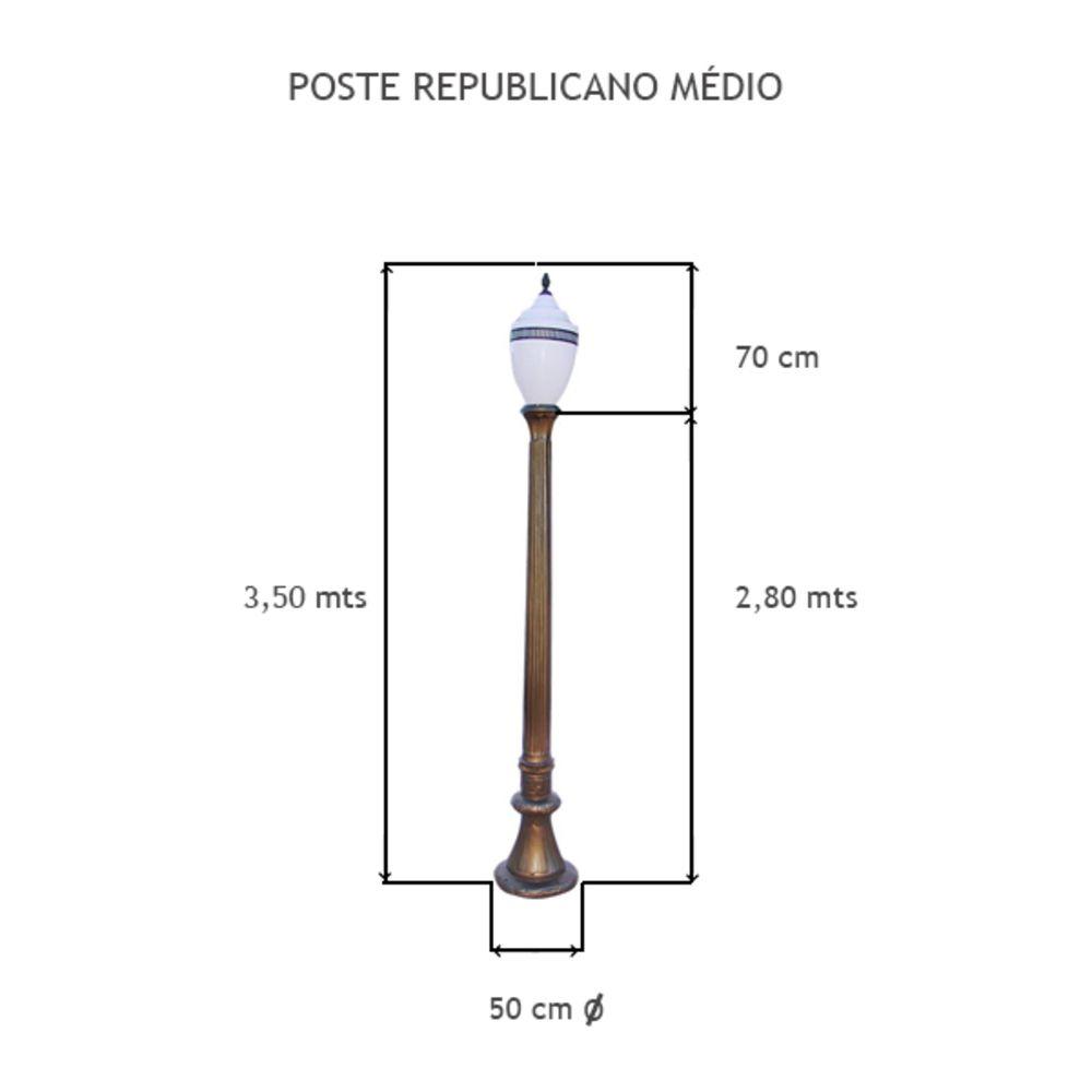 Poste Republicano Médio C/ 01 Globo C/ 3,5 Mts De Altura - FUNDIÇÃO VESUVIO