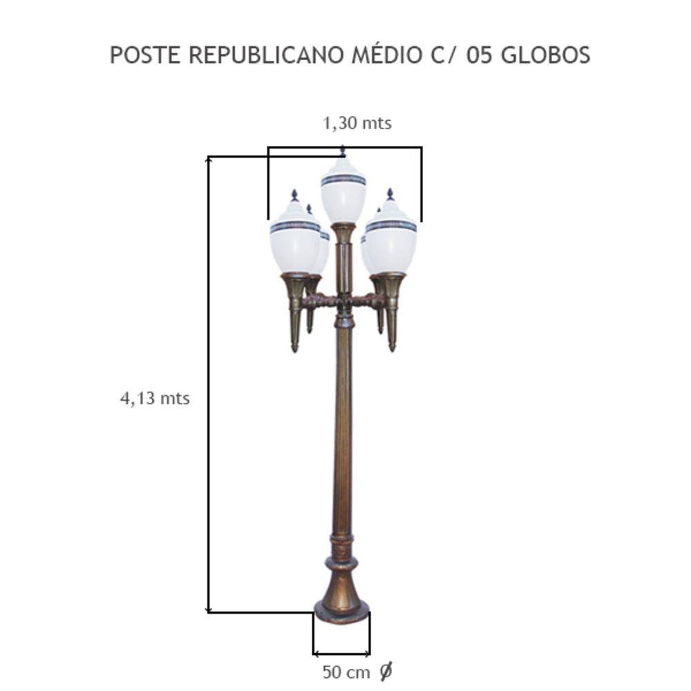 Poste Republicano Médio C/ 05 Globos C/ 4,13Mts De Altura - FUNDIÇÃO VESUVIO