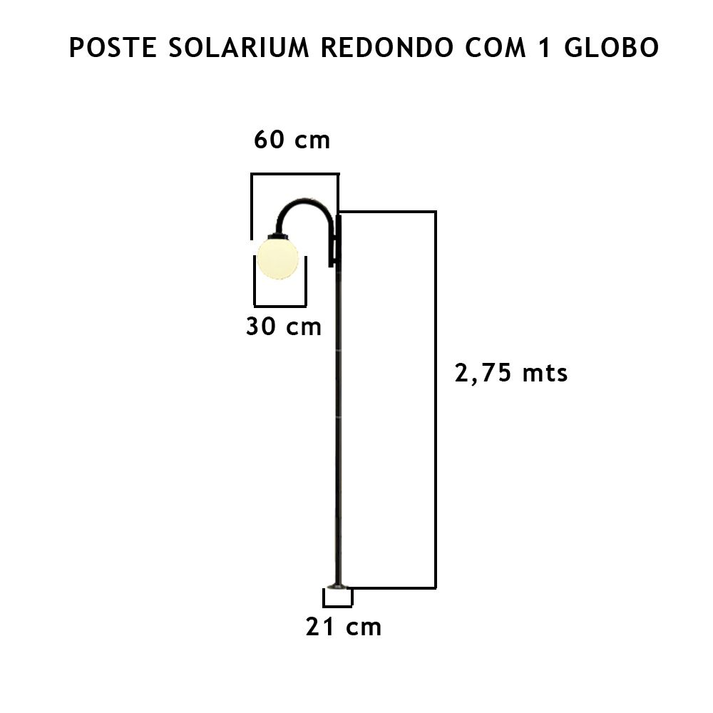 Poste Solarium Redondo C/ 1 Globo C/ 2,75Mt De Altura - FUNDIÇÃO VESUVIO