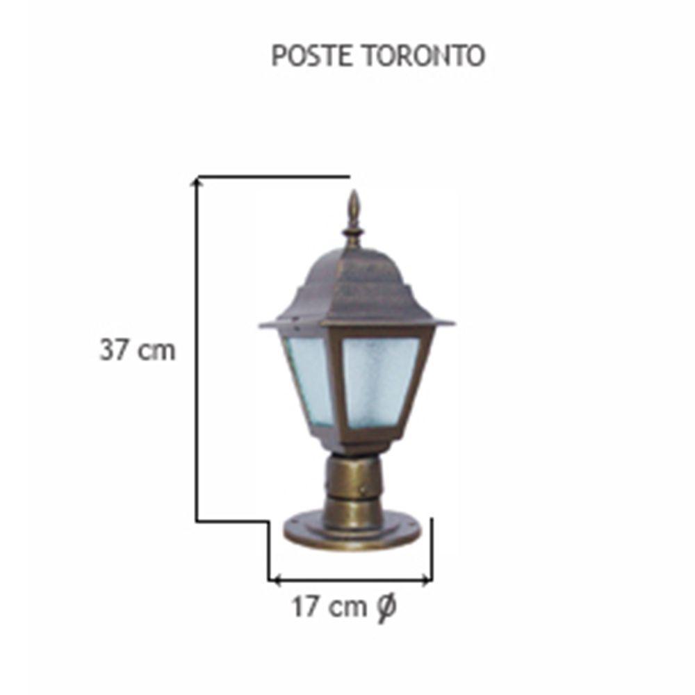 Poste Toronto C/ 1 Luminária C/ 37Cm De Altura - FUNDIÇÃO VESUVIO