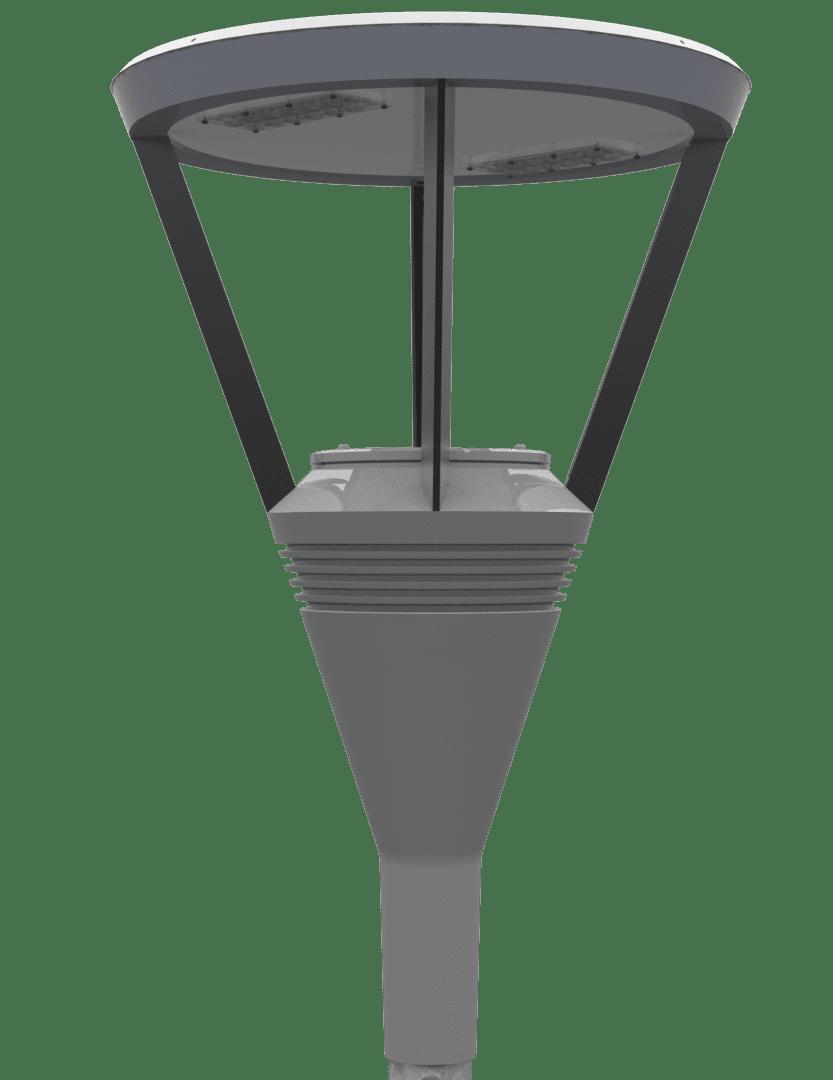 POSTE TUBULAR DECORATIVO RETO COM 1 LUMINÁRIA DECORATIVA LED 50W 3M DE ALTURA - FUNDIÇÃO VESUVIO