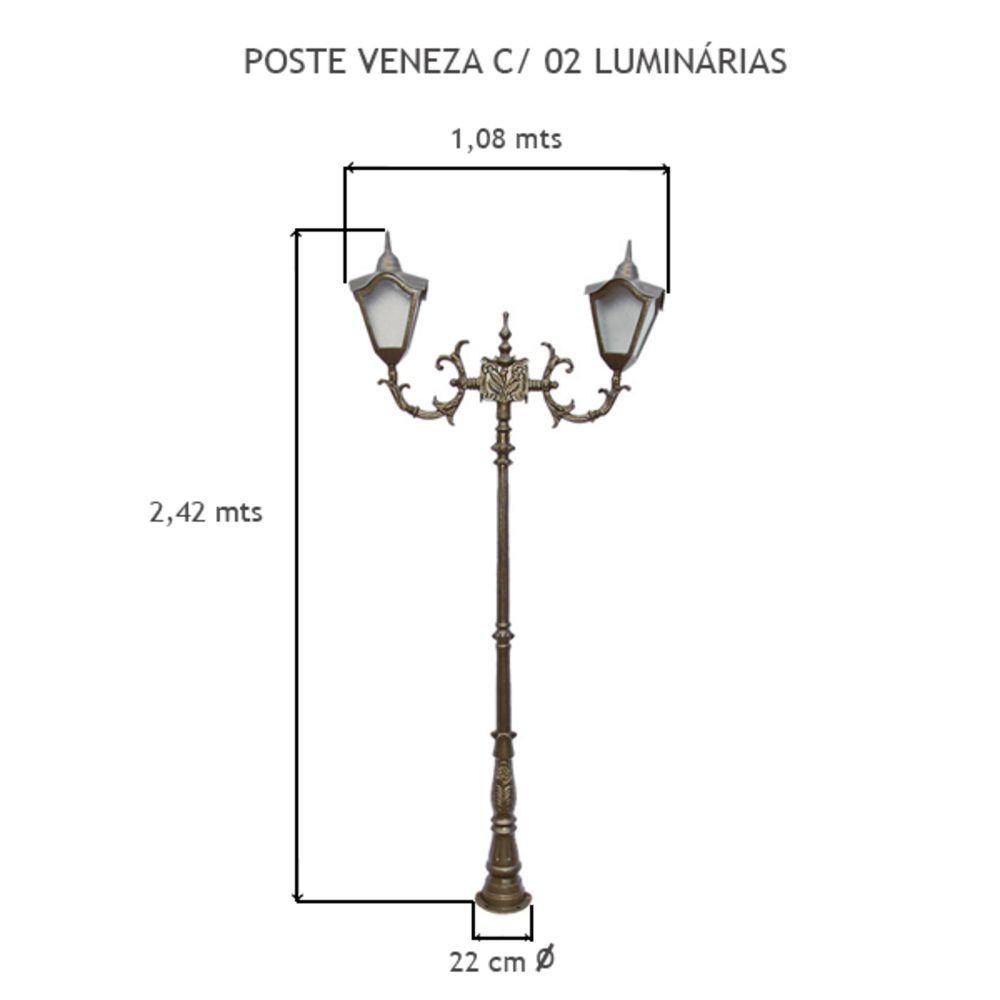Poste Veneza C/ 02 Luminárias C/ 2,42 Mts De Altura - FUNDIÇÃO VESUVIO