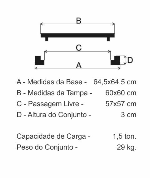 Tampão 60X60Cm Articulado Leve Em Ff - FUNDIÇÃO VESUVIO