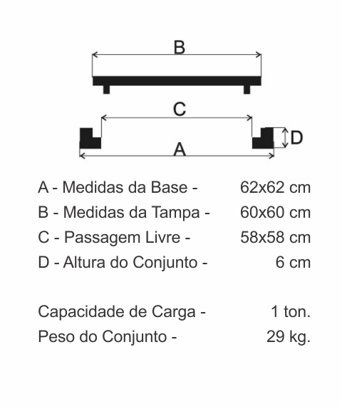 Tampão 60X60Cm Com Dispositivo Para Lacre Em Ff - FUNDIÇÃO VESUVIO