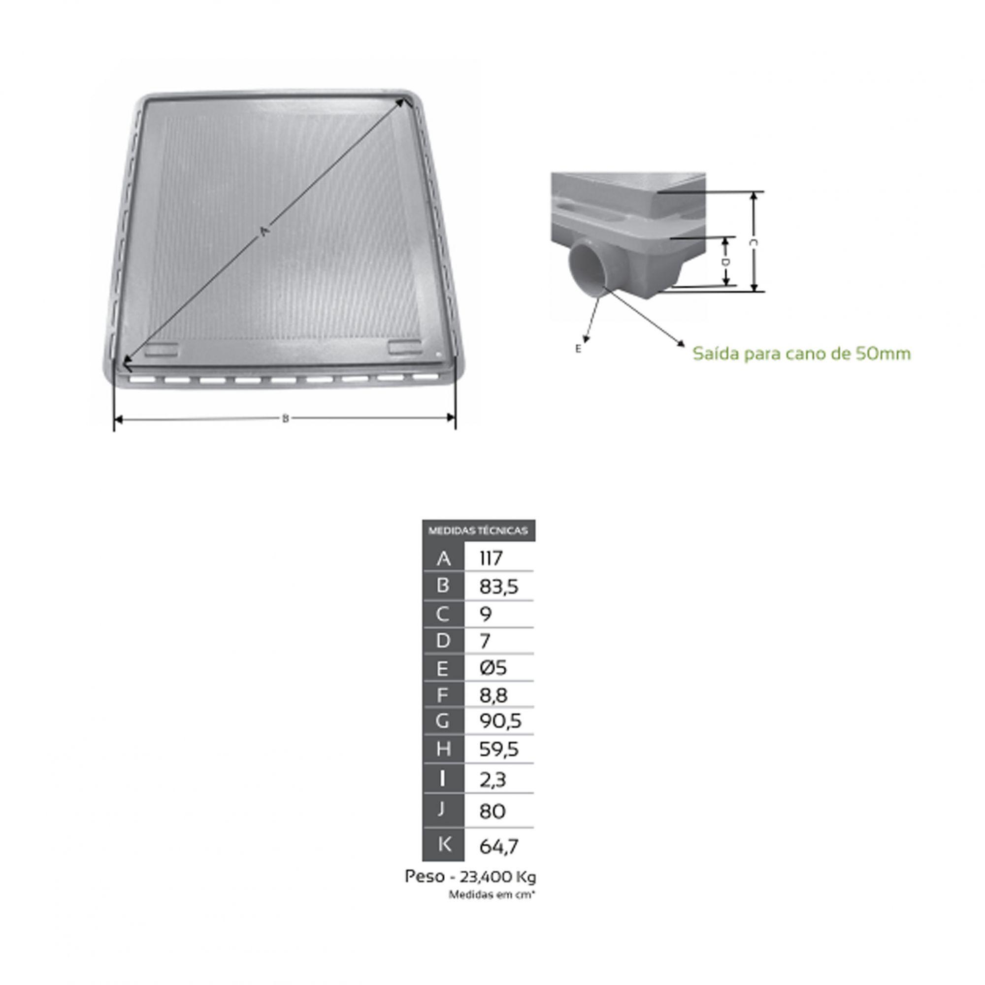 Tampão 80x80 Articulado c/Grelha Invisível P/ Casa de Máquina Pintura Eletrostática - FUNDIÇÃO VESUVIO